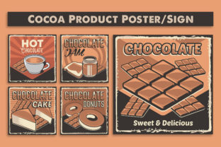 Print on Demand: Retro Cocoa Product Sign Poster Graphic Illustrations By zullfikarilyas