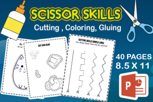 Scissor Skills Cutting Practice Sheets Graphic Teaching Materials By MOBAAMAL