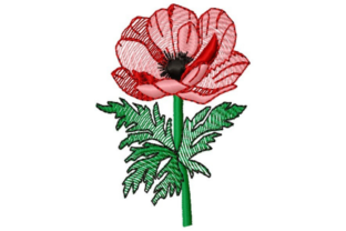 Sketched Poppy Single Flowers & Plants Embroidery Design By designsbymira