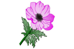 Sketched Purple Flower Single Flowers & Plants Embroidery Design By designsbymira