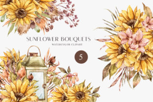 Print on Demand: Sunflower Bouquets Clipart. Boho Wedding Graphic Print Templates By Tiana Geo