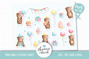 Print on Demand: Teddy Bear Birthday Party Sticker Graphic Illustrations By Chonnieartwork
