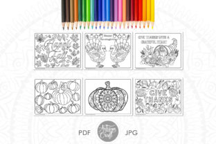 Print on Demand: Thanksgiving Coloring Pages, Give Thanks Graphic Coloring Pages & Books By Artisan Craft SVG