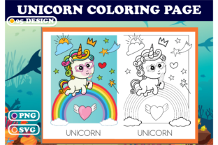 Print on Demand: Unicorn Coloring Page Graphic Coloring Pages & Books Kids By Sei Ripan