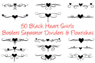 Print on Demand: 50 Black Heart Swirl Borders Separator Graphic Illustrations By squeebcreative