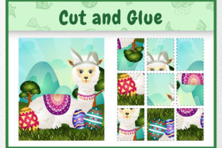 A Alpaca Easter Animal - Cut and Glue Gráfico Quinto curso Por wijayariko