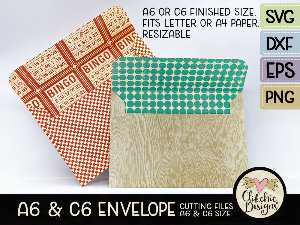 A6 & C6 Envelope Cutting Files Template SVG File