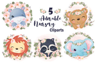 Print on Demand: Adorable Animals Clipart for Baby Girl Graphic Illustrations By DrawStudio1988