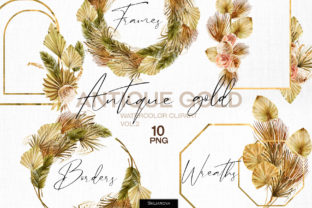 Antique Gold. Frames Set Vol.2 Graphic Illustrations By HappyWatercolorShop