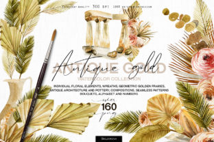 Antique Gold Collection Graphic Illustrations By HappyWatercolorShop