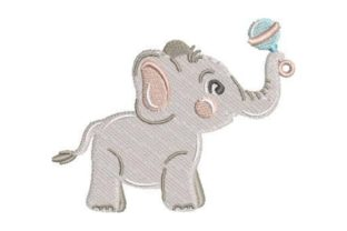 Baby Elephant with Toys Baby Animals Embroidery Design By Embroidery Designs
