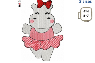 Ballerina Hippo Baby Animals Embroidery Design By EmbDesigns