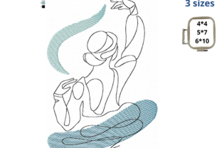 Ballerina One Line Art Dance & Drama Embroidery Design By EmbDesigns