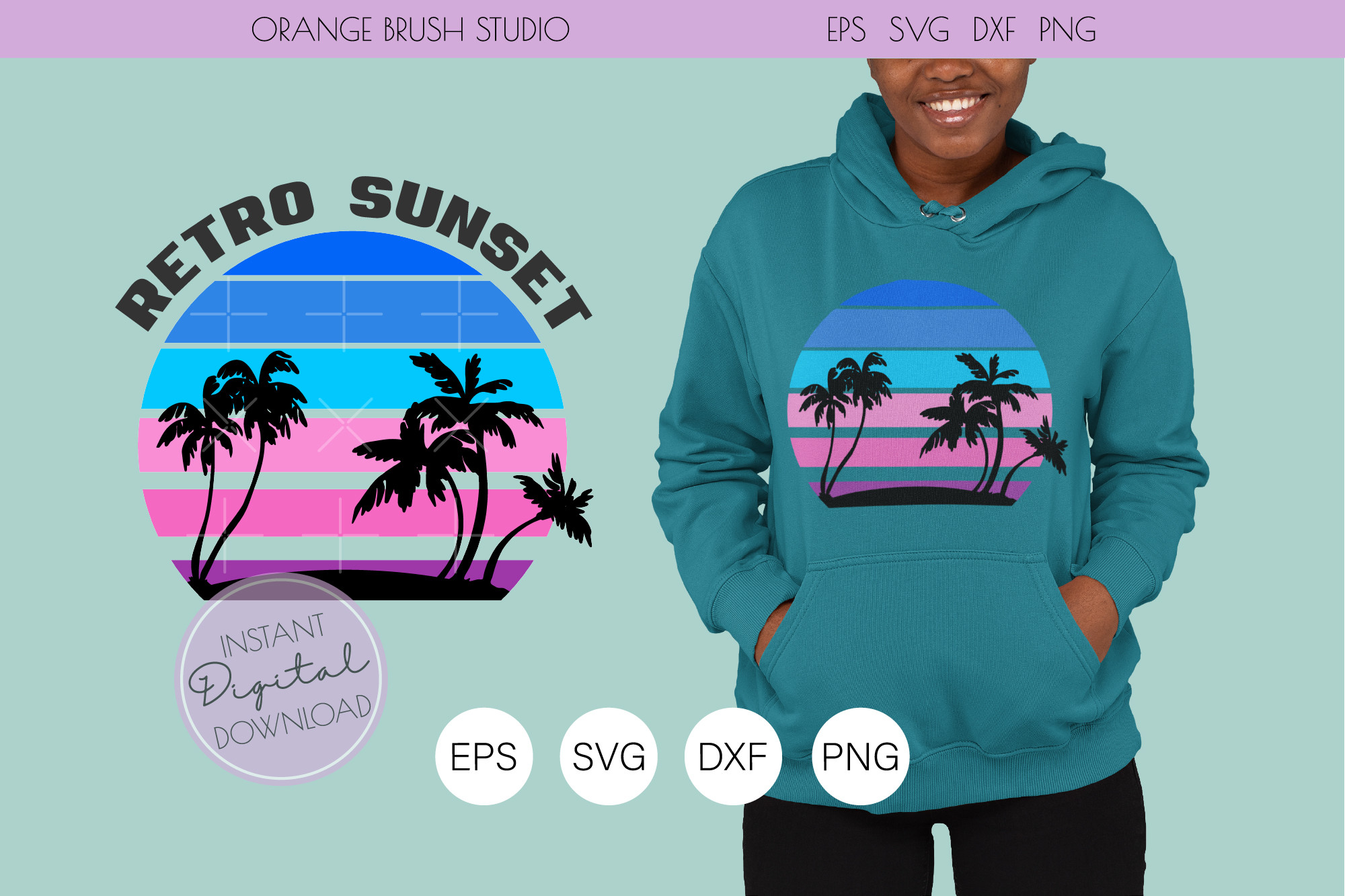Beach Sunset SVG. Palm Silhouette PNG SVG File