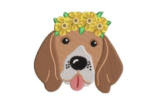Beagle Wearing a Flower Crown Dogs Embroidery Design By Embroidery Designs
