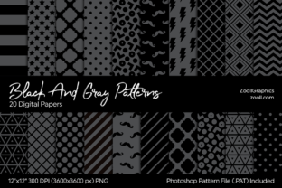 Black and Gray Digital Papers Graphic Patterns By ZoollGraphics