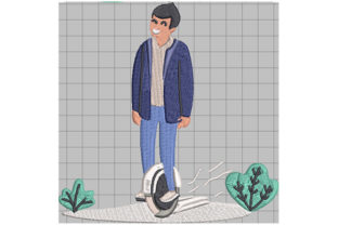Print on Demand: Boy Riding an Electric Unicycle Hobbies & Sports Embroidery Design By Dizzy Embroidery Designs