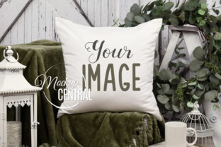 Country Green Garden Pillow Mockup Graphic Product Mockups By Mockup Central