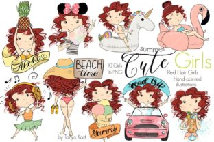 Cute Summer Red Hair Girls Graphic Illustrations By Tanya Kart