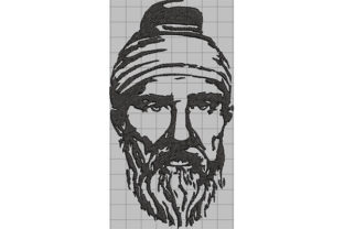Print on Demand: Dacian Warrior Portrait with Long Beard Military Embroidery Design By Dizzy Embroidery Designs