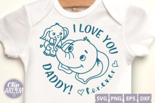 Print on Demand: Daddy I Love You Elephant Png, Svg,dxf Graphic Illustrations By clipArtem