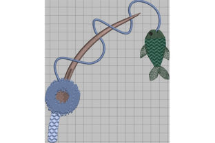 Print on Demand: Fish on a Rod Camping & Fishing Embroidery Design By Dizzy Embroidery Designs