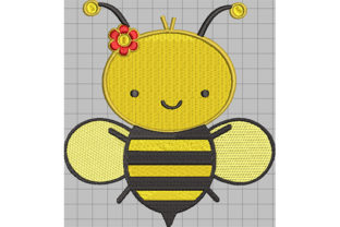 Print on Demand: Flying Bee with Flower on Head Animals Embroidery Design By Dizzy Embroidery Designs