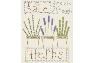 Fresh Herbs Single Flowers & Plants Embroidery Design By Sew Terific Designs