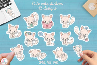Print on Demand: Funny Cats Printable Stickers. Graphic Print Templates By OK-Design