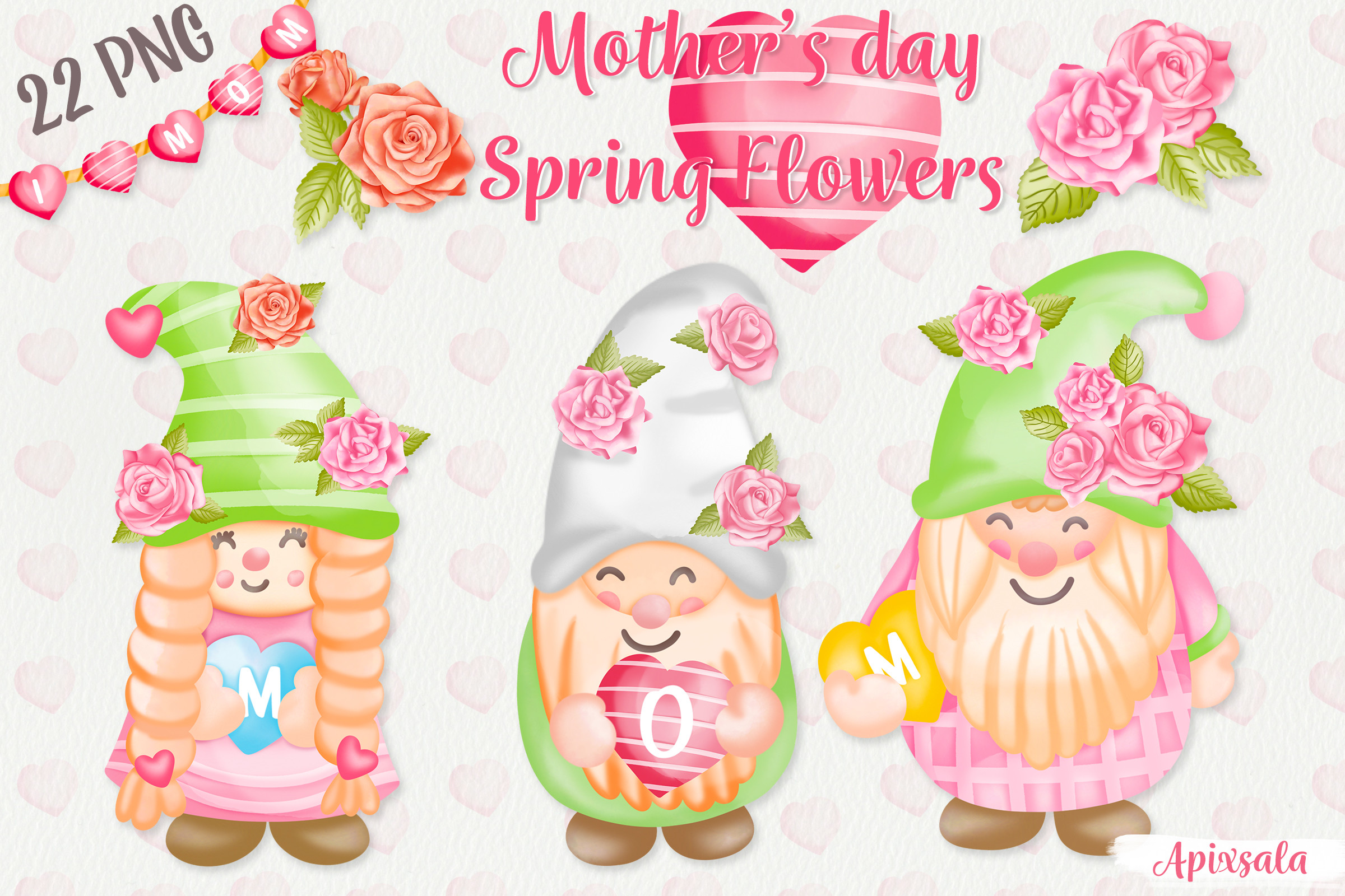 Gnome Mom & Spring Flower Watercolor SVG File