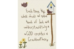 God Creates Grandmother Mother's Day Embroidery Design By Sew Terific Designs