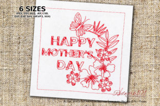Happy Mother's Day with Butterfly Design Mother's Day Embroidery Design By Redwork101