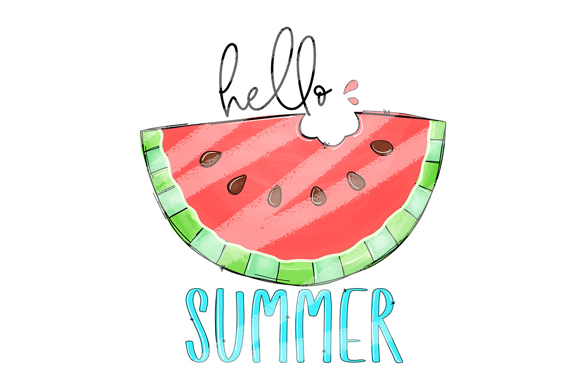 Hello Summer Watermelon Png Sublimation SVG File