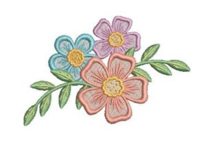 Layered Floral Design Single Flowers & Plants Embroidery Design By Embroidery Designs