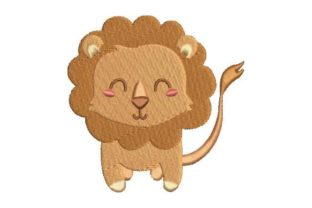 Lion Cute Kawaii Style Wild Animals Embroidery Design By Embroidery Designs