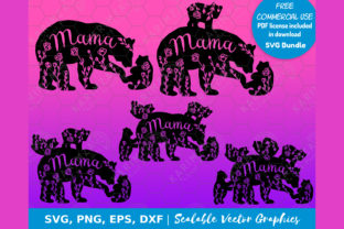 Print on Demand: MAMA BEAR Floral and 1 2 3 4 5 Cubs SVG Graphic Objects By KARIMZA watercolor