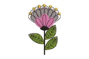 Mid Century Floral Design Single Flowers & Plants Embroidery Design By Embroidery Designs