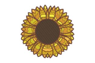 Multi Layered Sunflower Single Flowers & Plants Embroidery Design By Embroidery Designs