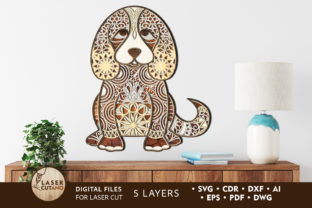 Multilayer Cut File PUPPY for Wood Cut Graphic 3D SVG By LaserCutano