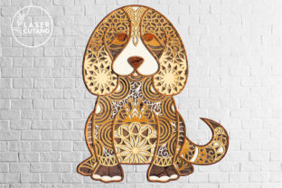 Print on Demand: Multilayer Cut File PUPPY for Wood Cut Graphic 3D SVG By LaserCutano 5