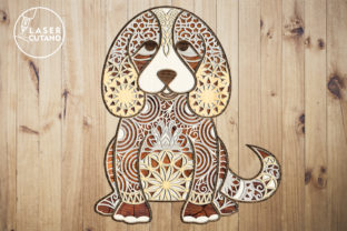 Print on Demand: Multilayer Cut File PUPPY for Wood Cut Graphic 3D SVG By LaserCutano 6