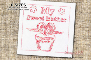 My Sweet Mother Bluework Mother's Day Embroidery Design By Redwork101