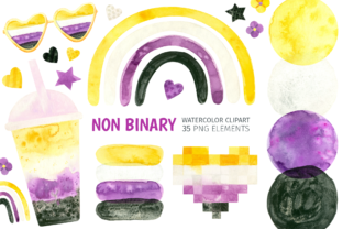 Print on Demand: Nonbinary Pride Watercolor Clipart Graphic Illustrations By ValinMalin