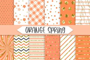 Print on Demand: Orange Spring Glitter Background Graphic Backgrounds By PinkPearly