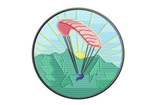 Print on Demand: Paragliding over Green Mountains Patch Hobbies & Sports Embroidery Design By Dizzy Embroidery Designs