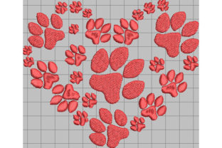 Print on Demand: Paw, Heart, Love Dogs Embroidery Design By Dizzy Embroidery Designs