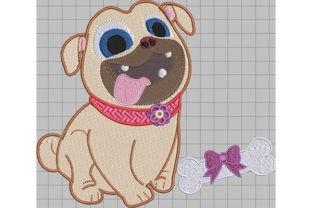 Print on Demand: Puppy with Bone Present Dogs Embroidery Design By Dizzy Embroidery Designs