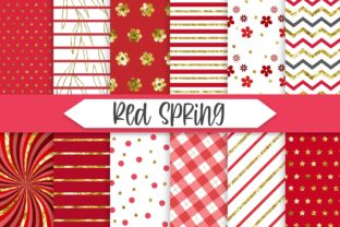 Print on Demand: Red Spring Glitter Background Graphic Backgrounds By PinkPearly