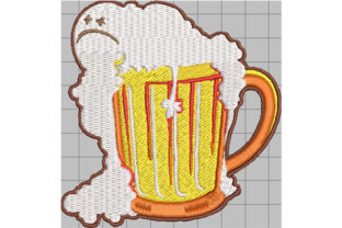 Print on Demand: Sad Beer Full of Foam Wine & Drinks Embroidery Design By Dizzy Embroidery Designs