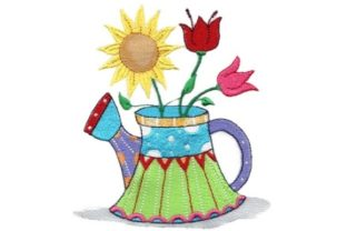 Sassy Sunshine Watering Can Bouquets & Bunches Embroidery Design By Sew Terific Designs
